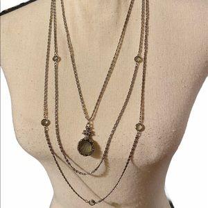 VG Goldette Black Amethyst Victorian Necklace